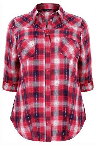 Red, Cream And Blue Checked Twill Shirt With Jacquard Detail
