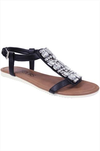 Black Jewel Trim E Fit Sandal With Cleated Sole