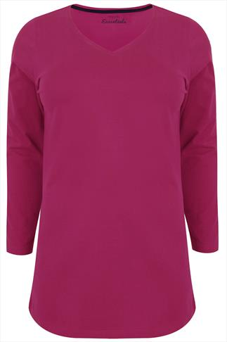 Pink Long Sleeve V-Neck Plain T-shirt