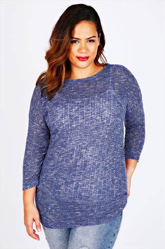 Blue & White Textured Fine Knit Slouch Top With 3/4 Sleeves