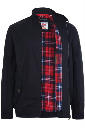 D555 Navy Cotton Harrington Jacket With Check Lining - TALL