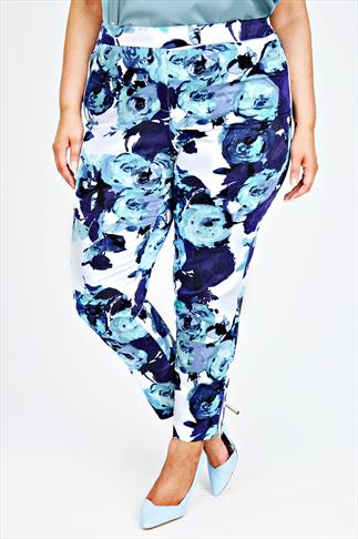 White & Blue Floral Print Slim Leg Trousers