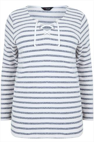 Navy & Ecru Stripe Sweat Top With Lace Up V Neck
