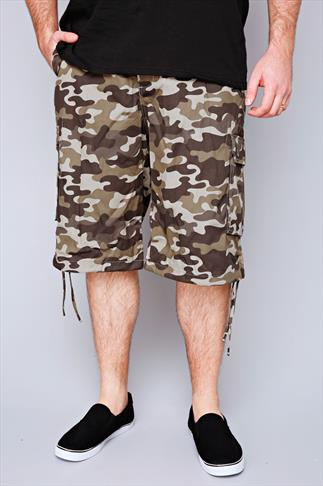 NOIZ Brown & Khaki Camo Print Cotton Cargo Shorts With Pockets