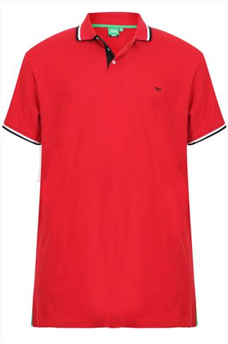 D555 Red Polo Shirt With Black & White Trim - TALL