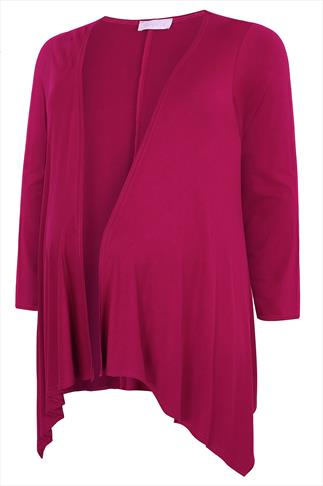 BUMP IT UP MATERNITY Magenta Waterfall Cardigan
