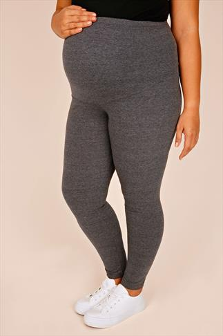 Maternite BUMP IT UP MATERNITY Charcoal Cotton Elastane Leggings With Comfort Panel 056322