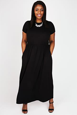 Black Cap Sleeved Blouson Waist Maxi Dress With Side Pockets