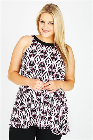 White, Pink & Black Abstract Print Dipped Back Sleeveless Top
