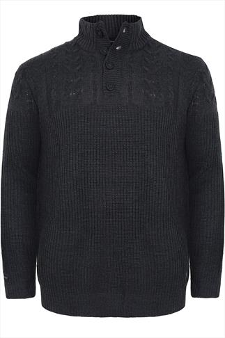 KANGOL Dark Grey Thick Knit Jumper