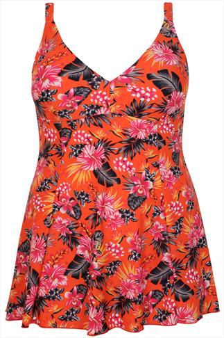 TUMMY CONTROL Orange & Multi Tropical Print Princess Seam Swimdress
