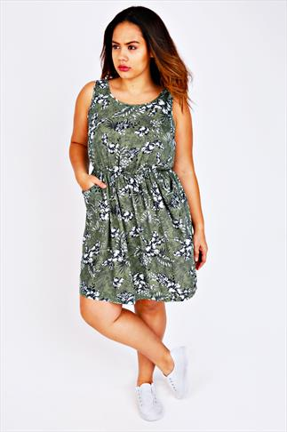 Green Botanical Palm Print Sleeveless Dress With Pockets