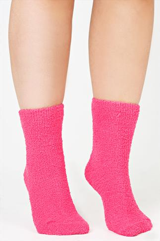 2 PACK Pink & Purple Cosy Socks In Extra Wide Fit