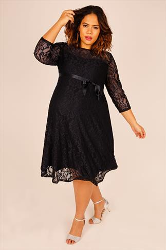 BUMP IT UP MATERNITY Black Lace Sleeved Skater Dress With Ribbon Tie