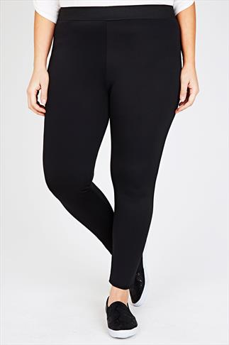 Jeggings Black Scuba Jegging With Elasticated Waist 054875