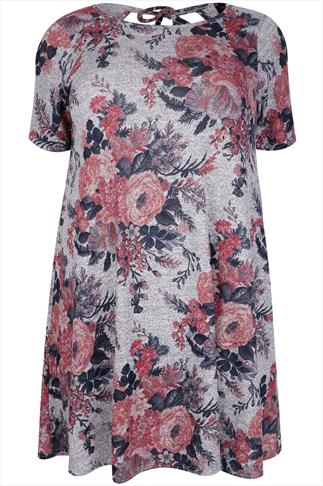 Grey Marl & Pink Floral Print Swing Dress With Cut Out Back Detail