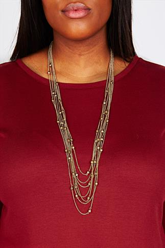Gold Multi Chain Long Length Necklace