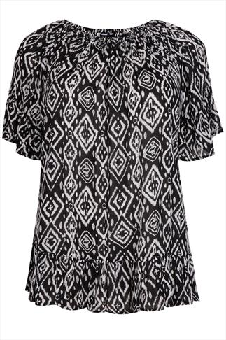 Black & White Ikat Print Frill Gypsy Crinkle Top With Elasticated Neckline