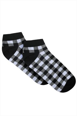 Black And White Gingham Check Socks