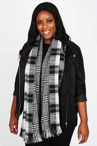 Grey, White & Black Checked Print Reversible Blanket Scarf