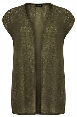 Khaki Longline Knitted Shrug With Extended Shoulders