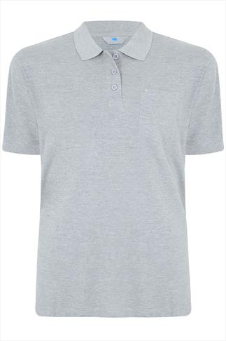 BadRhino Light Grey Marl Plain Polo Shirt - TALL