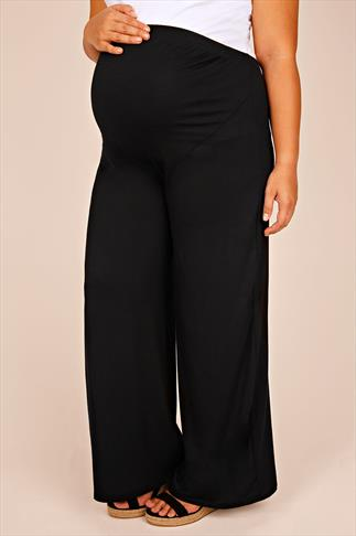 BUMP IT UP MATERNITY Black Palazzo Trousers With Comfort Panel