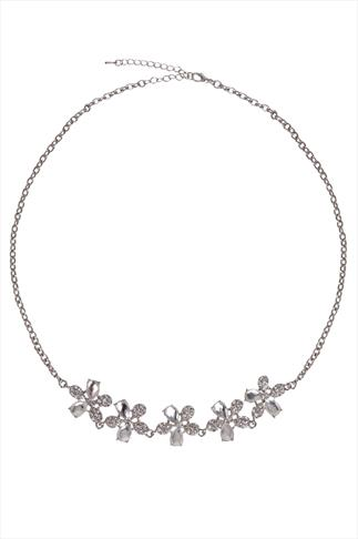 Silver & Clear Floral Jewelled Necklace