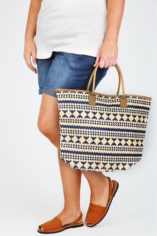 Cream & Blue Aztec Straw Beach Bag With PU Trim