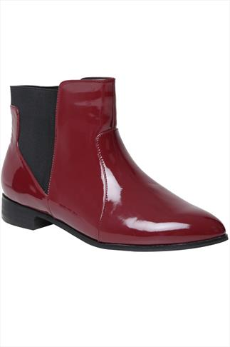 Burgundy Patent Chelsea Boots With Elasticated Panel In EEE Fit