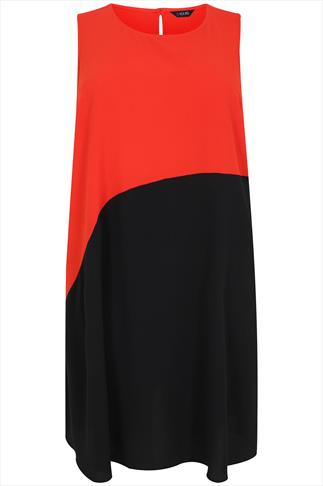 Red & Black Asymmetrical Colour Block Dress