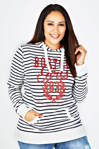 "White & Navy Stripped Hoodie With ""Boston Girl"" Print"