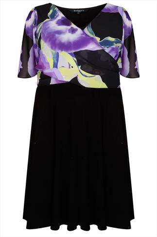 SCARLETT & JO Black Jersey Dress With Floral Chiffon Wrap Over Shrug