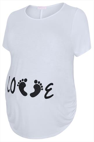 "BUMP IT UP MATERNITY White Top With Black Glitter ""Love"" Print"