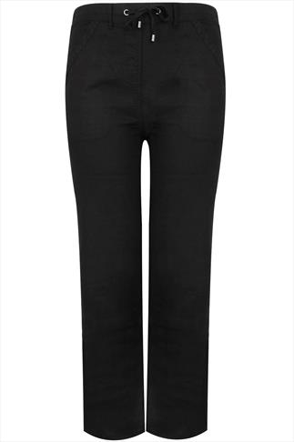Black Linen Mix Full Length Trousers With Four Pockets 32""