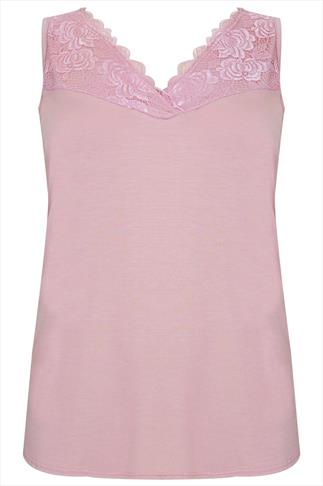 Pale Pink Sleeveless Top With Lace Panel Detail