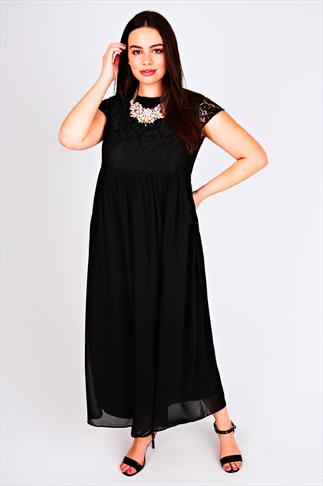 Black Lace Top Maxi Dress With Zip Back