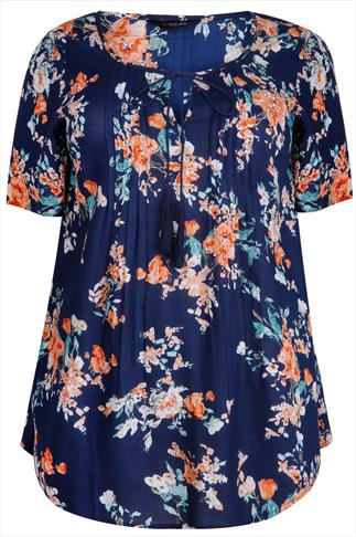 Navy & Peach Floral Print Blouse With Tassel Necktie