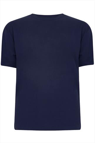 BadRhino Navy Basic Plain Crew Neck T-Shirt - TALL