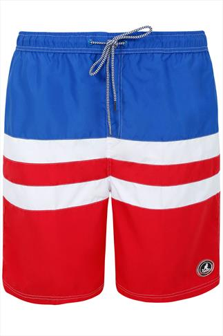 KANGOL Blue, Red & White Striped Swim Shorts