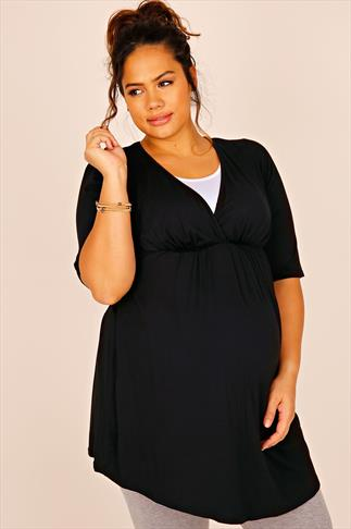 BUMP IT UP MATERNITY Black & White Nursing Longline Top With V Neck