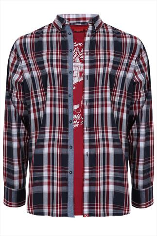 D555 Long Sleeved Checked Shirt & Red T-shirt Combo- REG