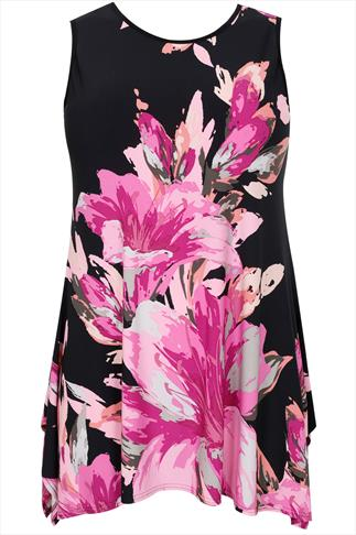 Black & Pink Floral Print Sleeveless Top With Hanky Hem