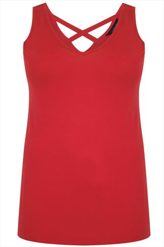 Terracotta Red V-neck Vest With Cross Back