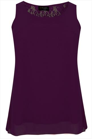 Purple Sleeveless Top With Lace & Bow Back