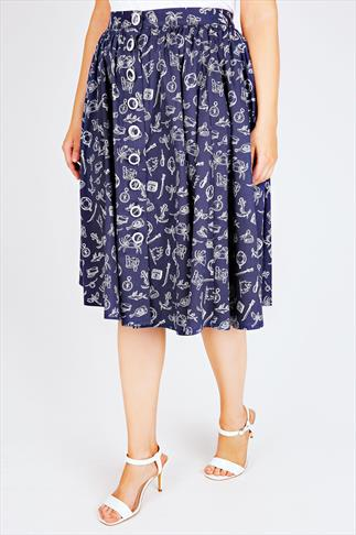 HELL BUNNY Navy & White Nautical 50s Style Midi Skirt