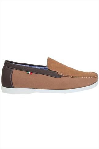 D555 Light Brown Canvas Slip On Shoes With Dark Brown Trim