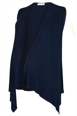 BUMP IT UP MATERNITY Navy Longline Sleeveless Waterfall Wrap