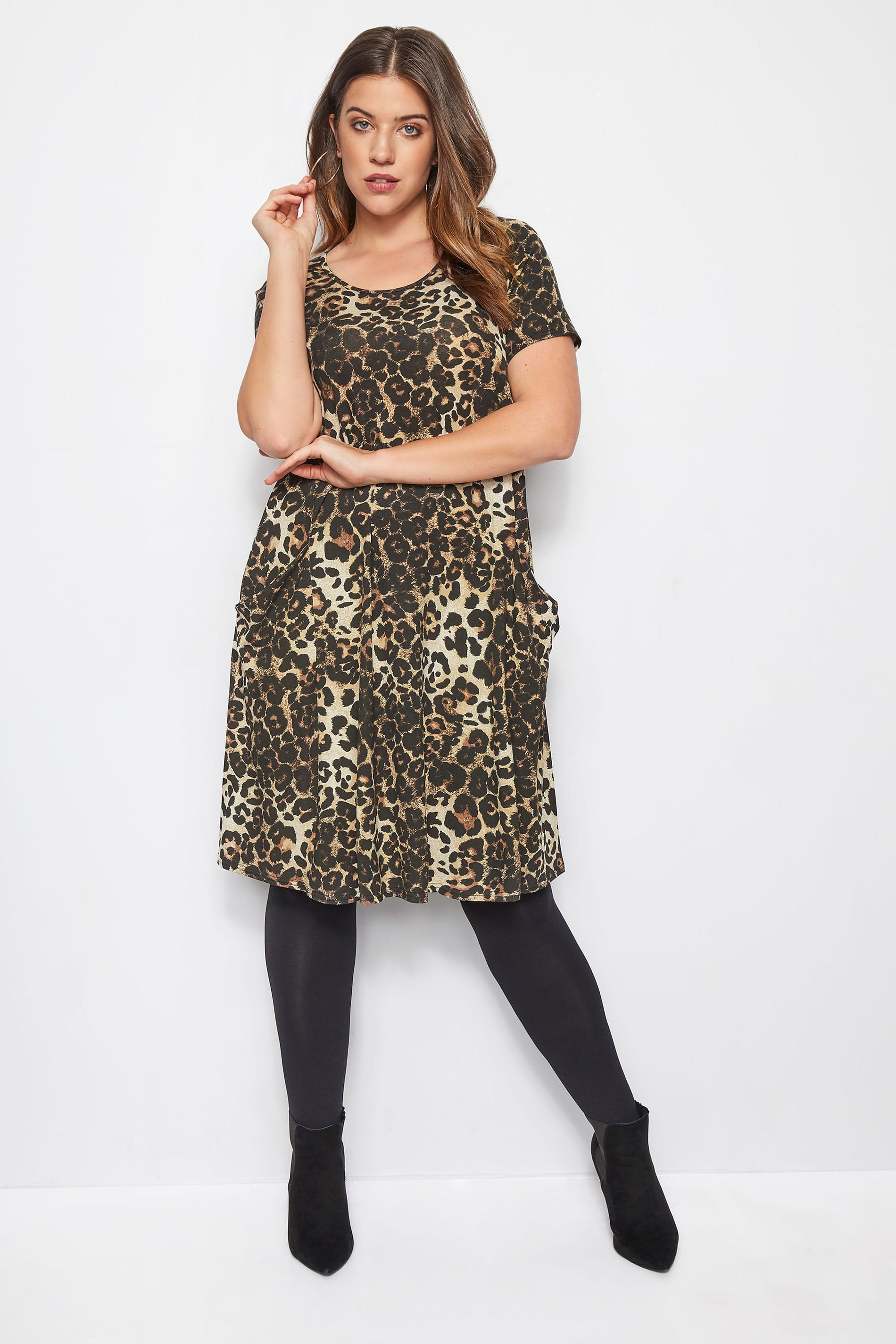 Leopard Print Drape Pocket Dress, Plus size 16 to 36