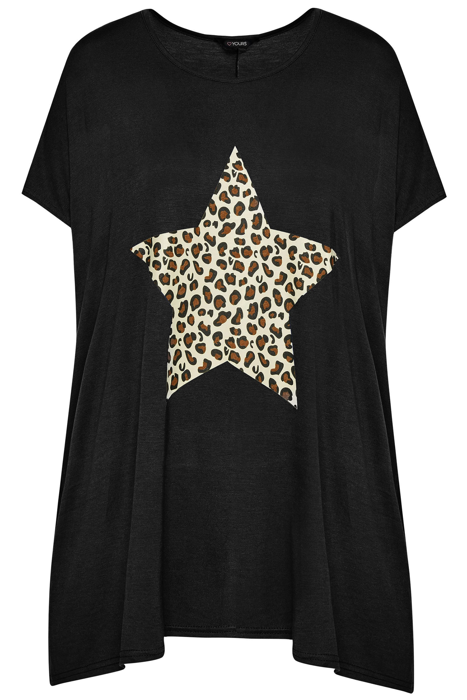 a4265a56b22d Black Leopard Star Print T-Shirt | Sizes 16-40 | Yours Clothing
